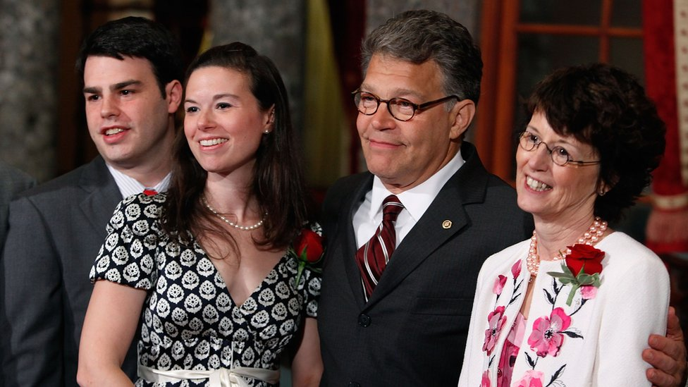 Al Franken with his wife Franni Franken (R) his son Joe (L) and daughter Thomasin