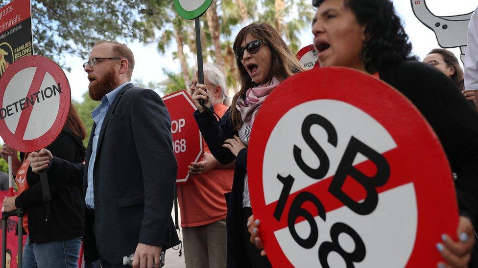Protesta contra la ley migratoria SB 168 en Florida