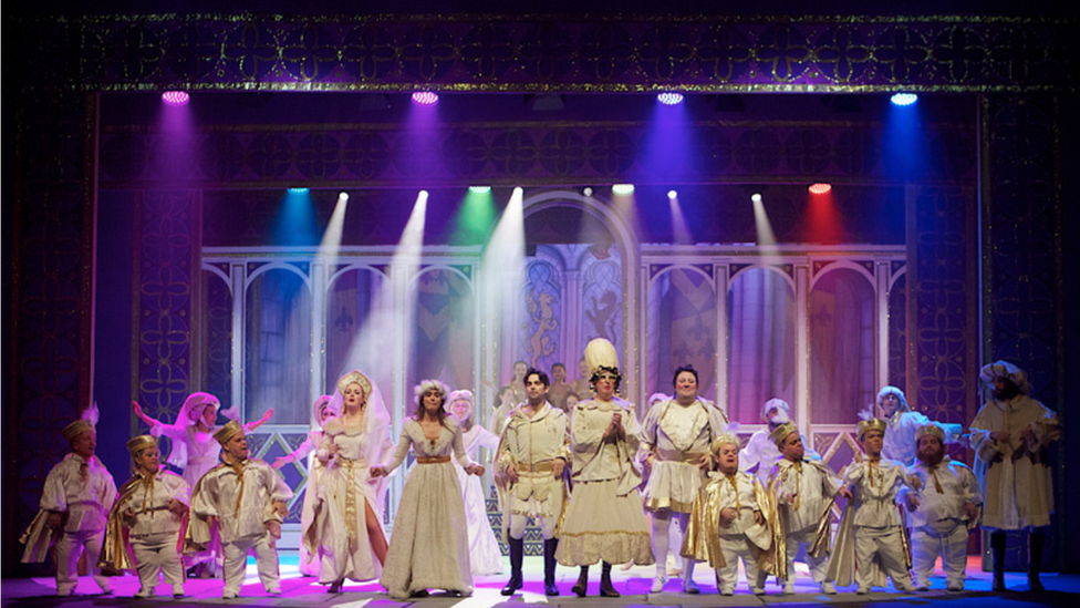 The cast of Snow White and the Seven Dwarfs at the Millennium Forum in December 2019.