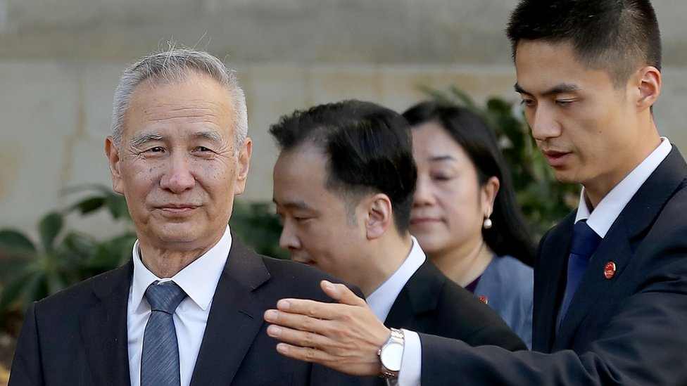 Chinese Vice Premier Liu He leaves the US Trade Representative offices after the first day of a new round of trade negotiations in Washington
