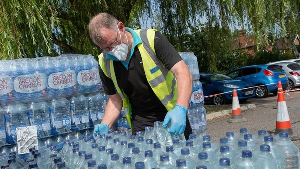 Bottled water given out by South East Water