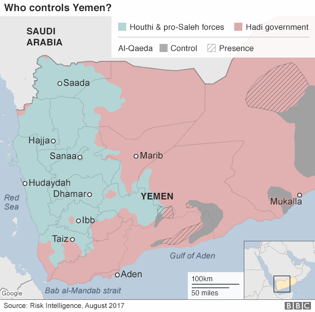 Map showing who controls territory in Yemen