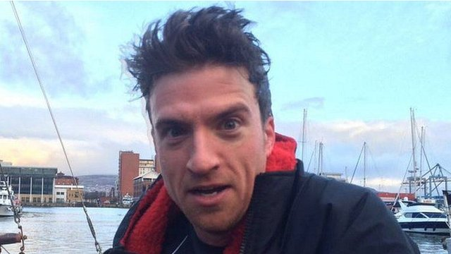Radio 1 presenter Greg James completed the first of his five triathlons in Belfast on Monday