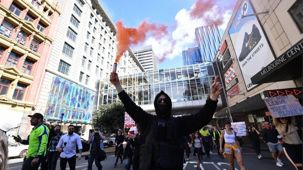 Melburn protest, avgust 2021.