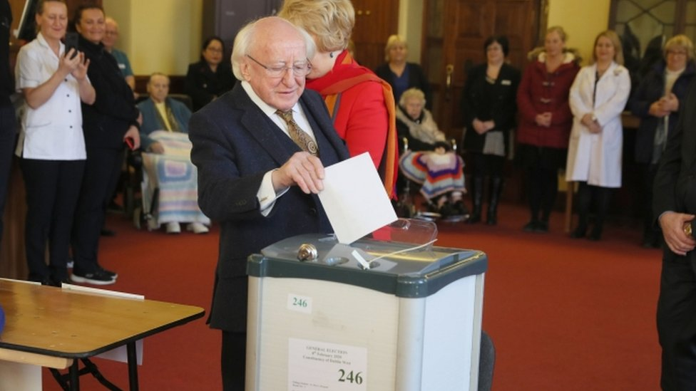 Michael D Higgins voting at St Mary's Hospital in Dublin
