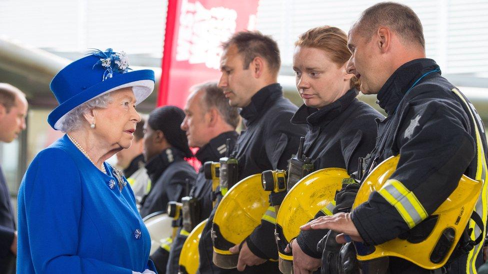 Firefighters meet Queen after Grenfell Tower fire response