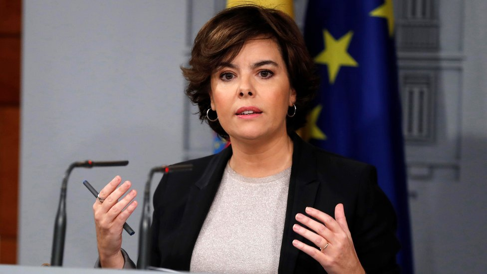 Spanish Deputy Prime Minister Soraya Saenz de Santamaria addresses a press conference after the Spanish Government received a letter by Catalonian regional President Puigdemont, at La Moncloa Palace in Madrid, Spain, 16 October 2017