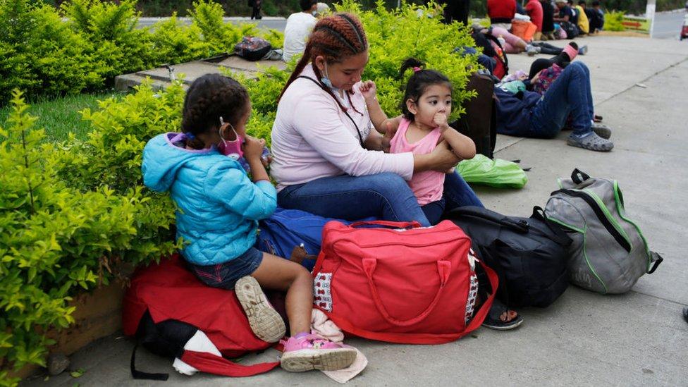 Familia de migrantes en Guatemala