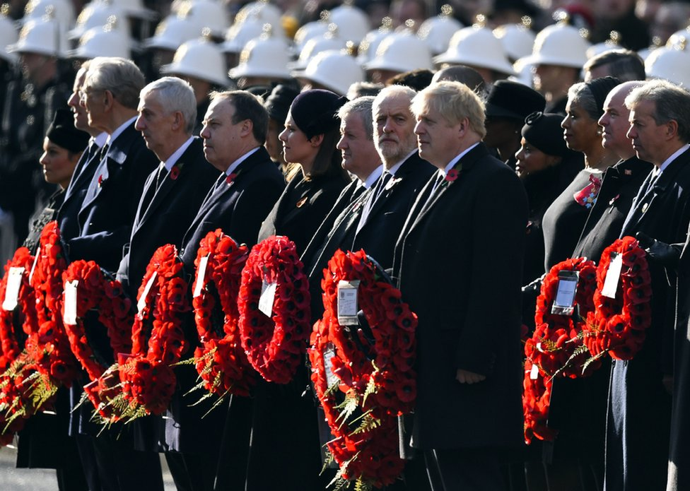 Prime Minister Boris Johnson and Labour Party leader Jeremy Corbyn prepare to lay wreaths in the annual Remembrance Sunday memorial service at The Cenotaph