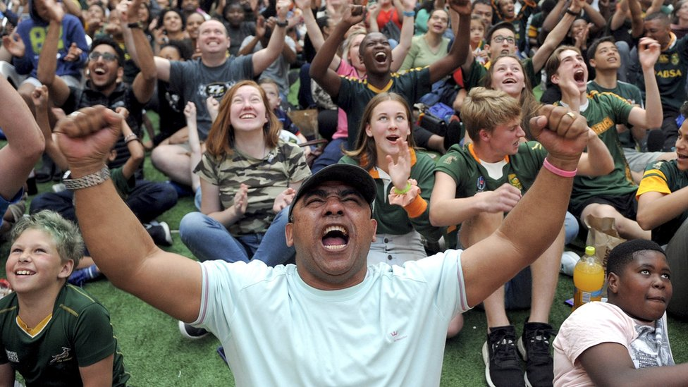 Fans in Cape Town cheer on the Springboks