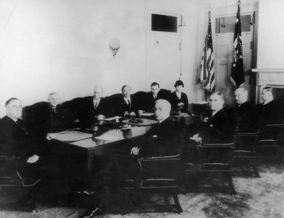 US President Frederick D. Roosevelt's cabinet, pictured in March 1933