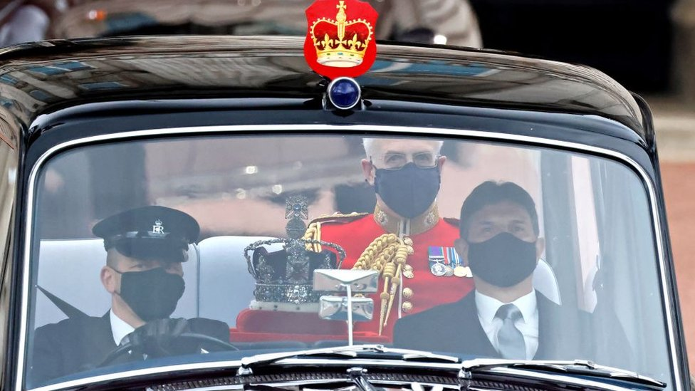 The Imperial State Crown is driven from Buckingham Palace to the Houses of Parliament for the State Opening of Parliament
