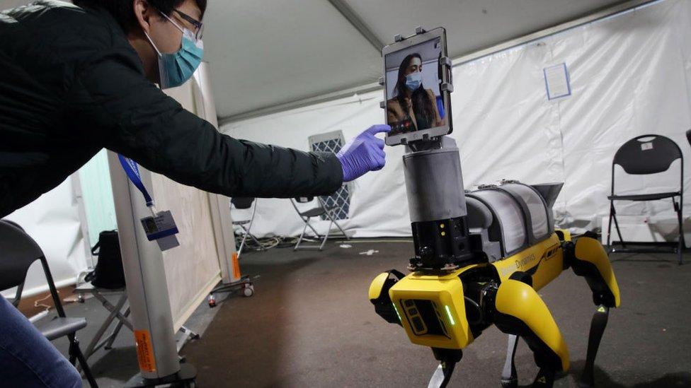Boston Dynamics'ın köpek şeklindeki robotları ise ABD'de doktorların hastalıkla temasının kesilmesi için kullanılıyor