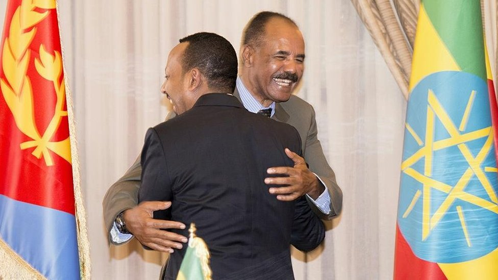 Isaias and Abiy embrace