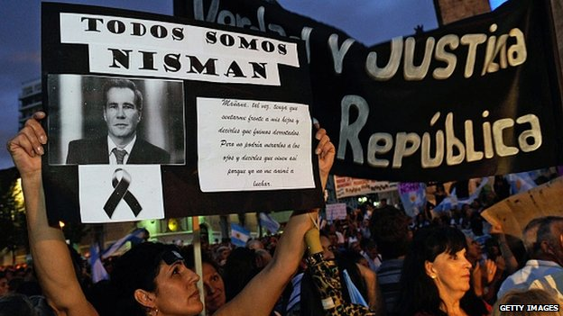 Demonstrators protest against the death of prosecutor Nisman in Argentina