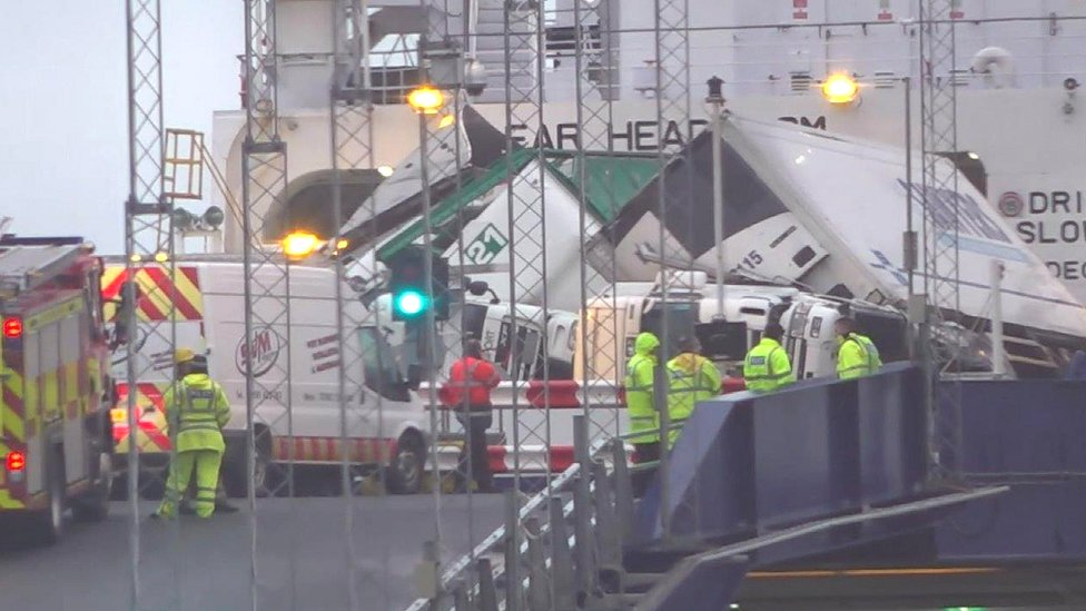 'Major incident' as lorries topple on Larne to Cairnryan ferry