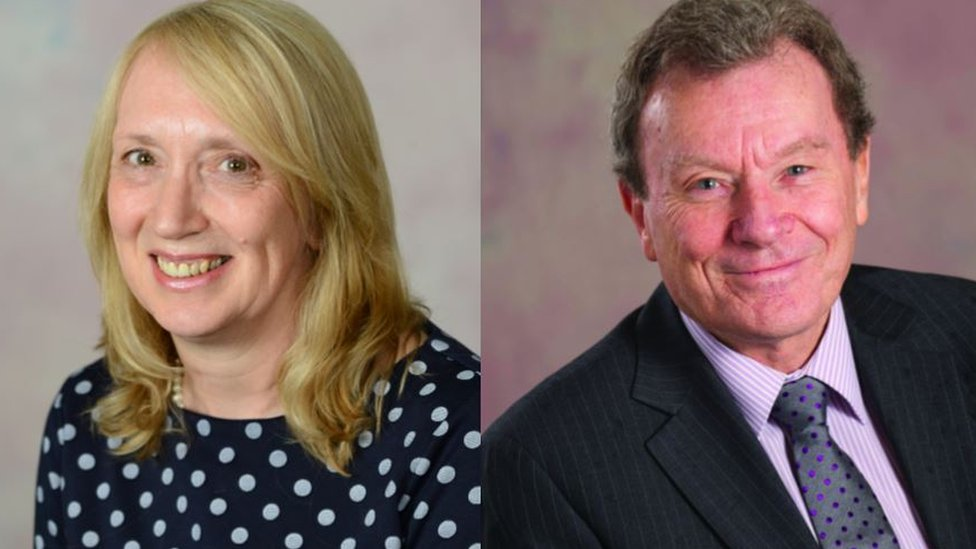 County councillor Julia Berry and leader Geoff Driver
