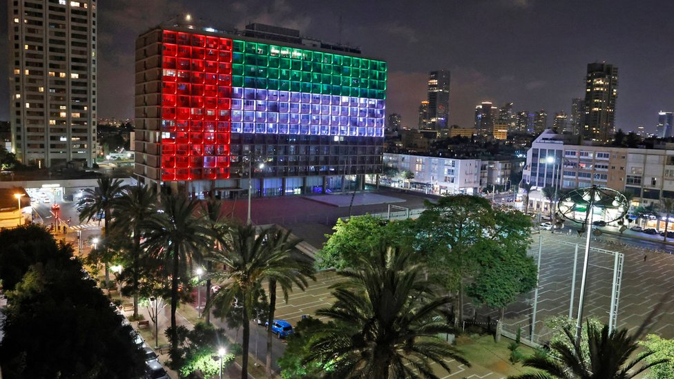 Municipality building in Tel Aviv lit up in colours of UAE flag (13/08/20)
