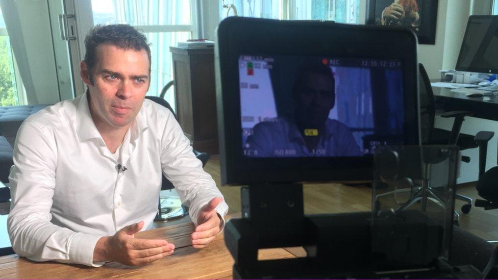 Maurice Op de Beek being interviewed on camera