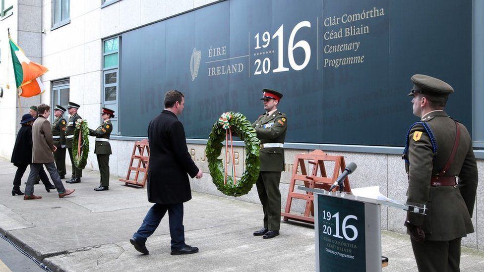 Acting Minister For Environment Alan Kelly laid at wreath at Jacob's biscuit factory in Dublin, a rebel stronghold during the 1916 Easter Rising