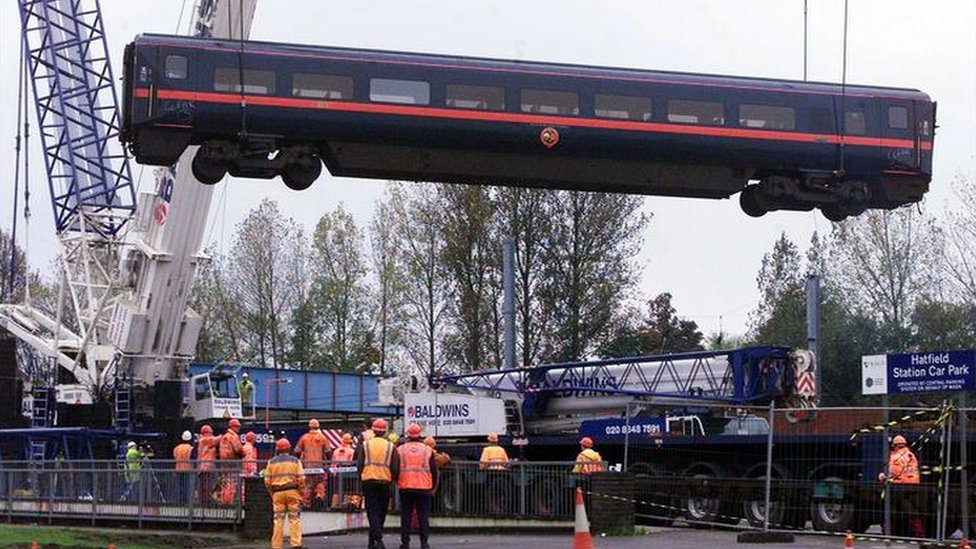 A carriage lifted from the scene of the Hatfield rail crash