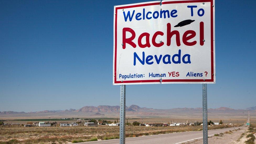 Rachel, Nevada road sign