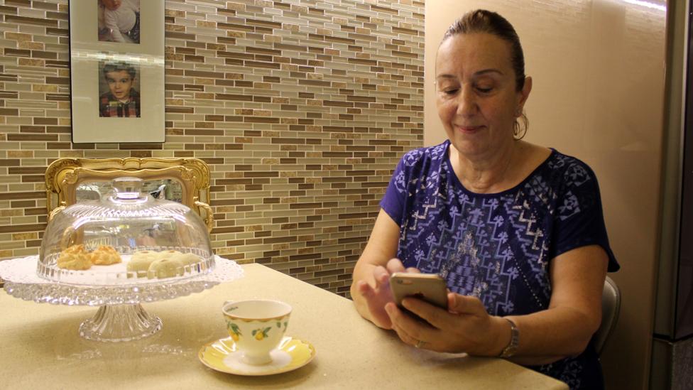 A Turkish woman using the Bounty app