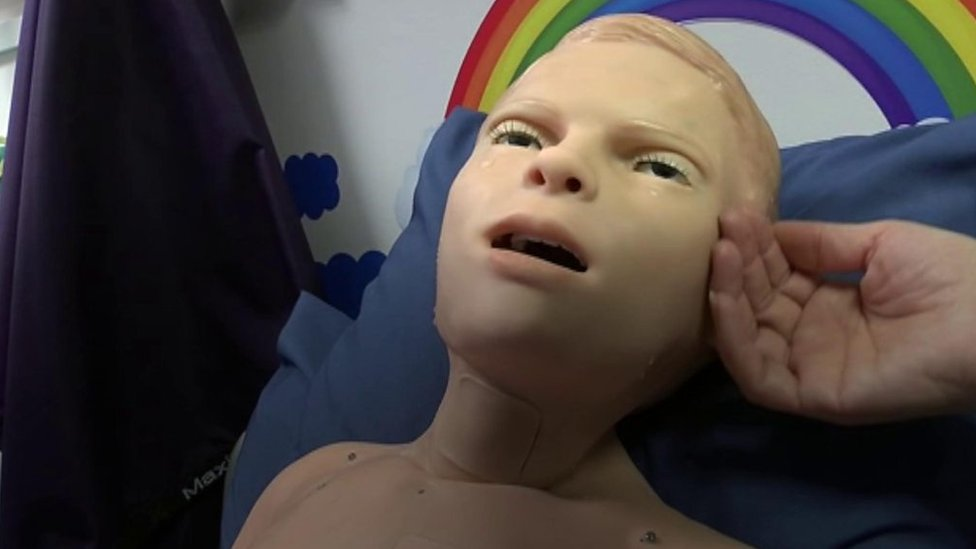 Meet the talking and crying childlike manikin