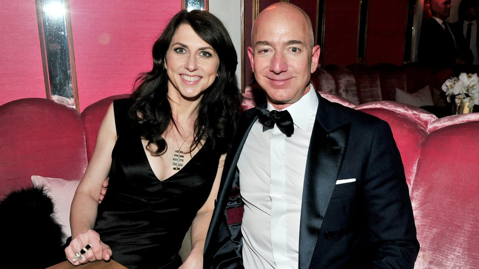 Mackenzie Scott pictured with her ex-husband Jeff Bezos.