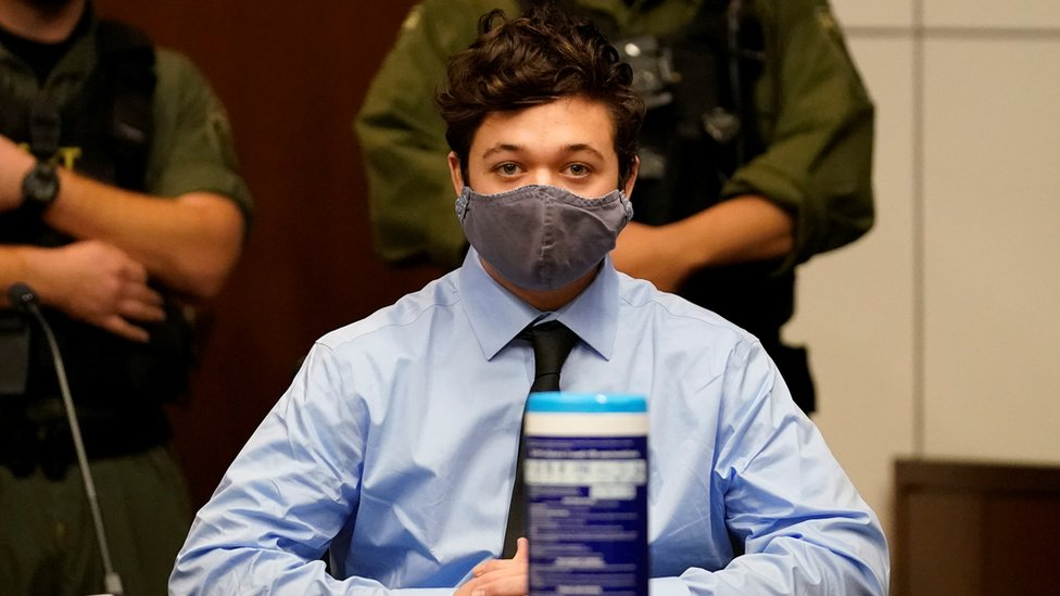 Kyle Rittenhouse, the teenager charged with killing two people and injuring another during demonstrations on the streets of Kenosha, Wisconsin, at an extradition hearing in Lake County in Waukegan, Illinois, US, 30 October 2020