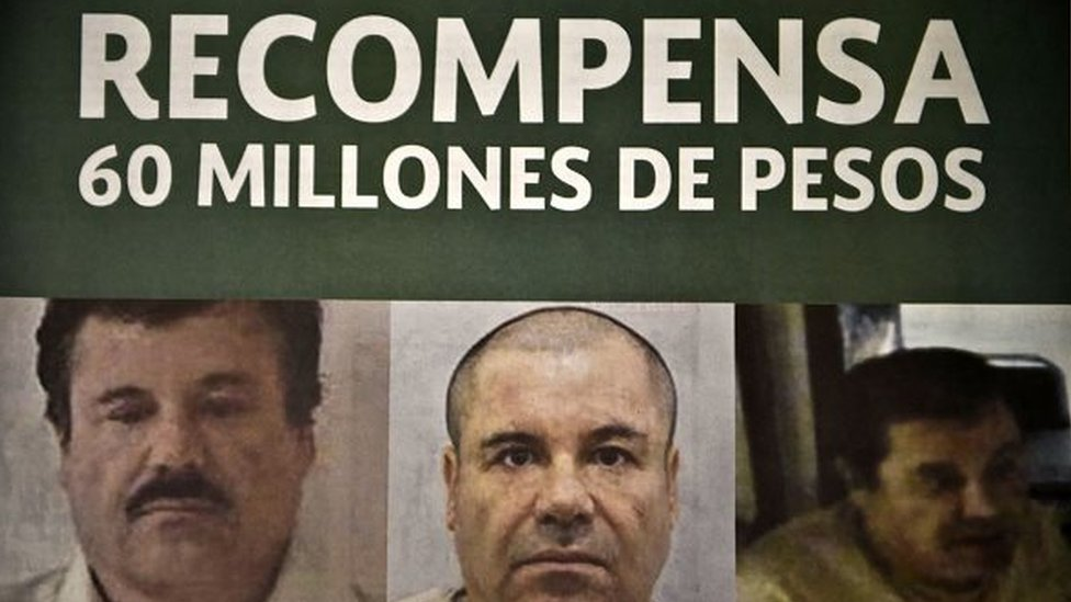 Photo of a notice published in newspapers offering 60 million Mexican pesos reward to anyone with information leading to the recapture of Joaquin Guzman on 16 July, 2015