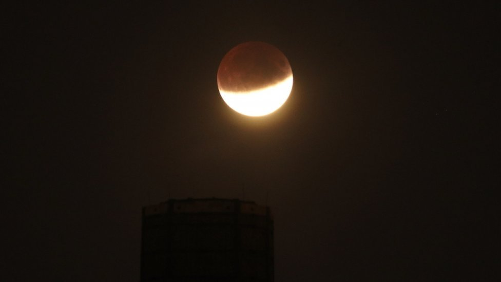 Partial lunar eclipse on 16 July 2019, from Greenwich, London
