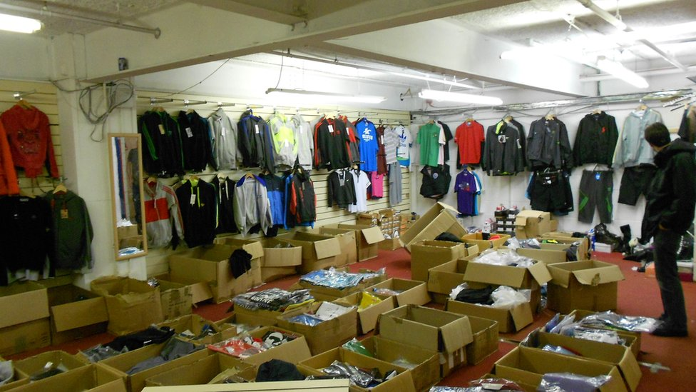 Counterfeit sportswear in Cheetham Hill