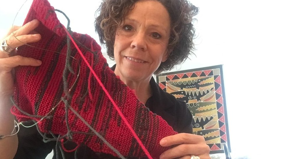 Councillor's colour-coded knitting shows 'men talk too much'