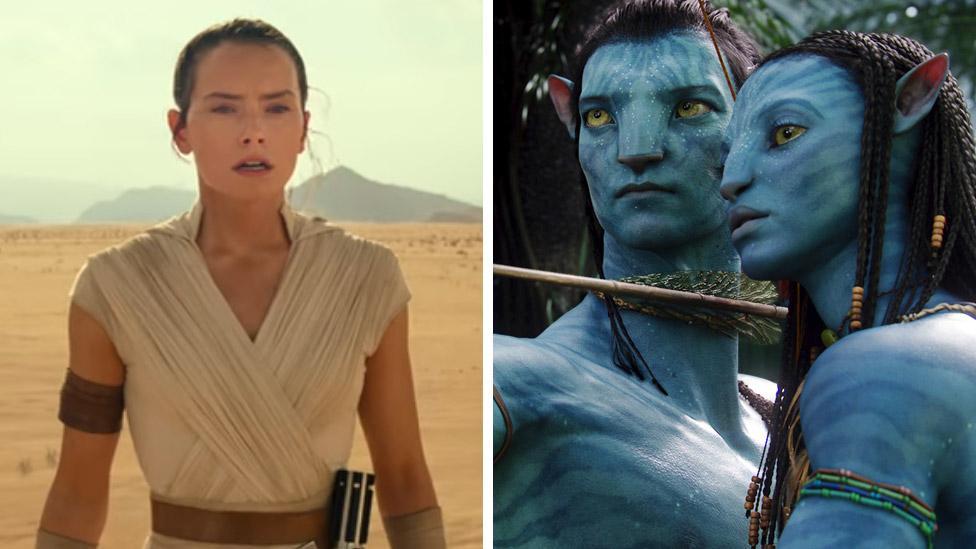 Daisy Ridley in Star Wars: The Rise of Skywalker (left) and Sam Worthington and Zoe Saldana in Avatar