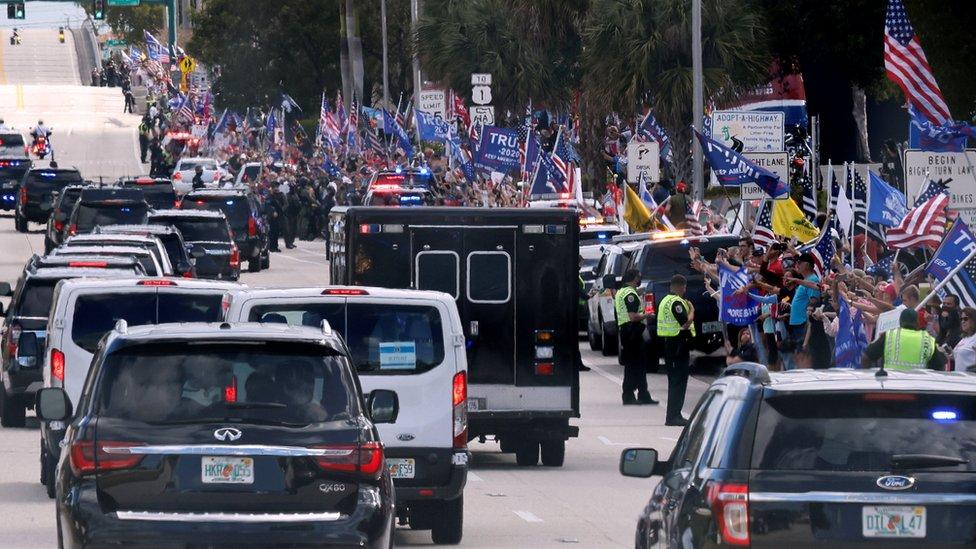 特朗普在佛羅里達州受到支持者的歡迎。