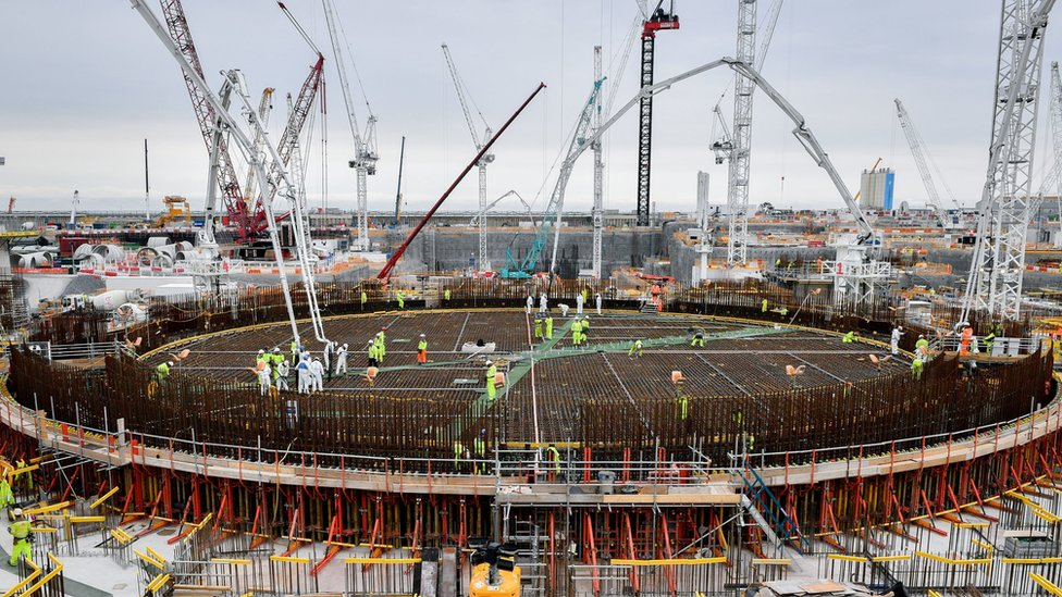 The base for the first reactor at Hinkley Point C power station being constructed