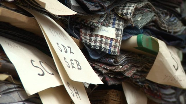 Cuts of fabrics with labels attached