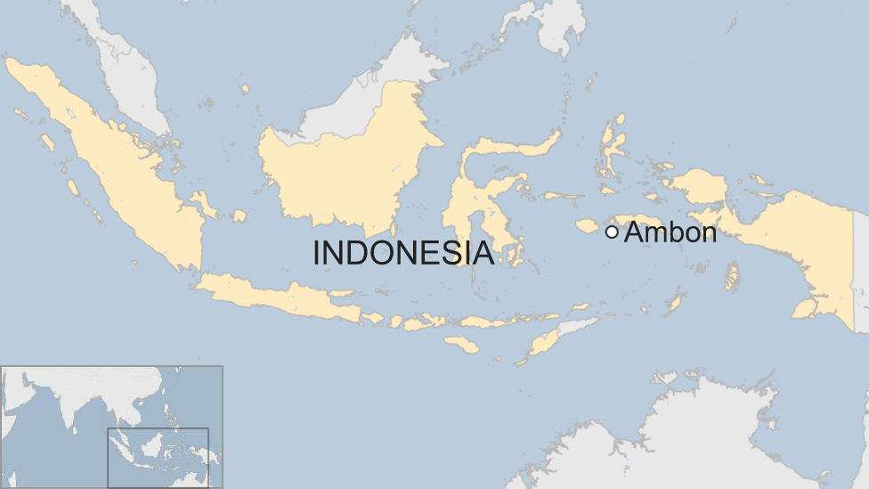 A BBC map showing the location of the island of Ambon in Indonesia