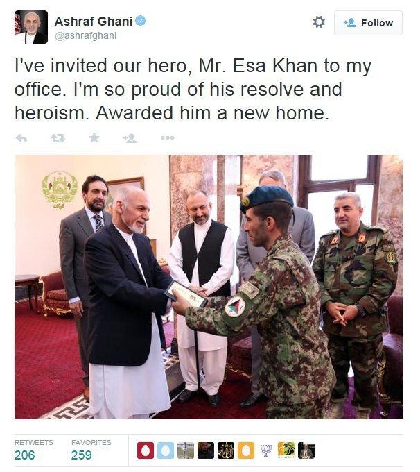 Tweet from Ashraf Ghani