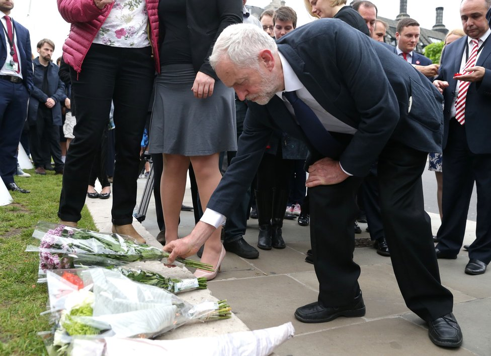Jeremy Corbyn lays a floral tribute at Westminster