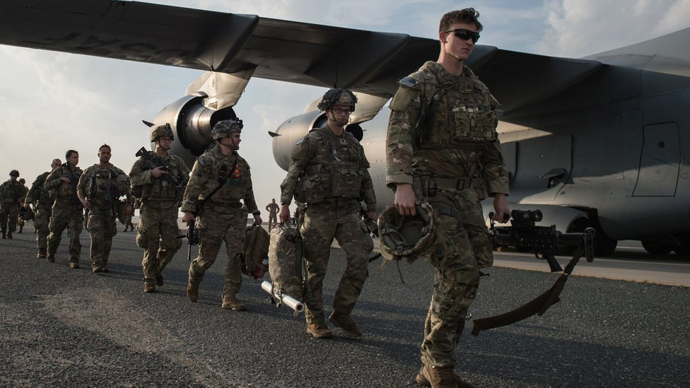 US Army paratroopers from the 82nd Airborne Division arrive at Ali Al Salem Air Base, Kuwait, January 2, 2020