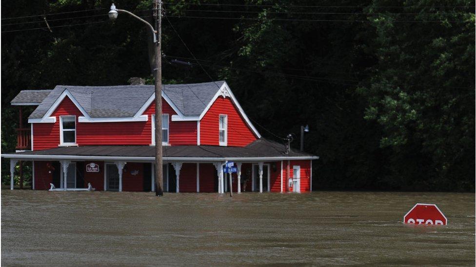 La inundación del río Mississippi en Grafton, Illinois.