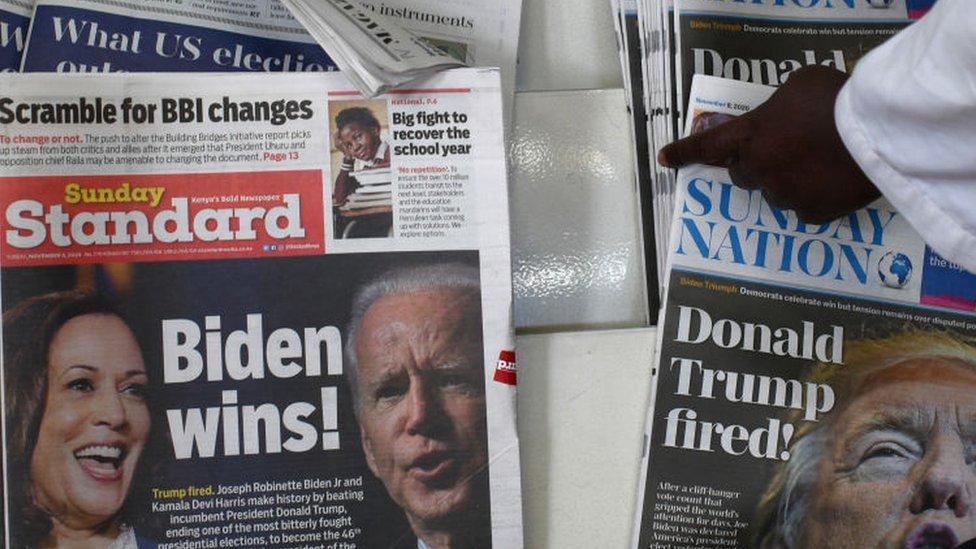 Newspaper headlines in Kenya - 8 November 2020