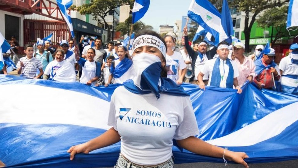 Nicaraguan citizens living in Costa Rica hold a protest against the government of Nicaraguan President Daniel Ortega, in San Jose, on January 20, 2019.