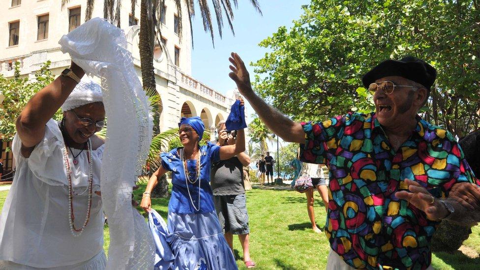Performers at the international congress on longevity in Havana