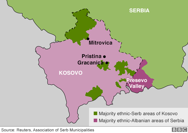 Map showing Kosovo and Serbia