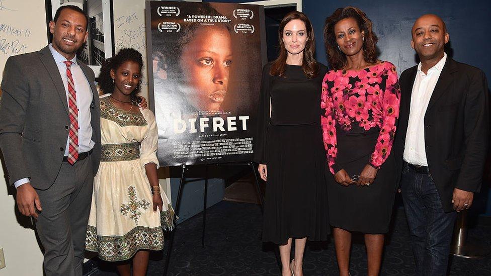 Meaza Ashenafi, actress Tizita Hagere, executive producer Angelina Jolie, director Zeresenay Mehari and producer Leelai Demoz attend the 2014 Variety Screening Series of 'Difret' at ArcLight Hollywood on December 9, 2014 in Hollywood, California.