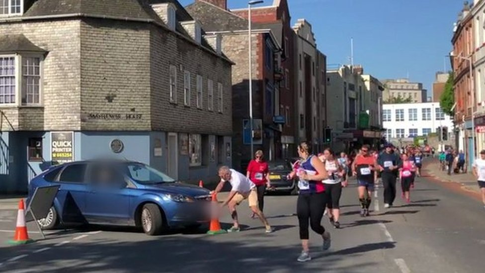 Plymouth Half Marathon: Car driven into path of runners