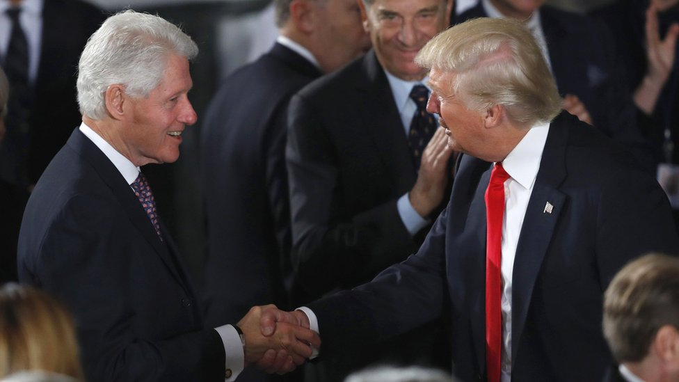 Photo of Bill Clinton meets Donald Trump at the at the inaugural lunch in January 2017